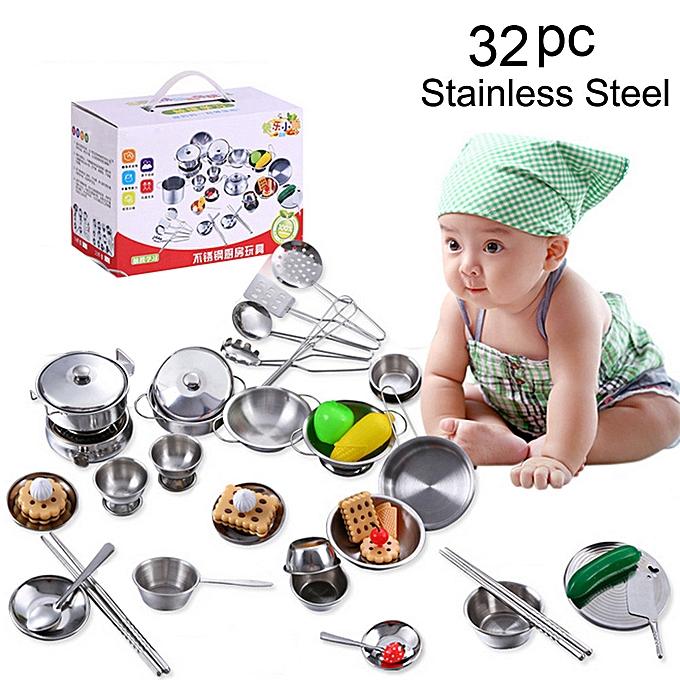 Generic 32Pcs Set Kids Play House Kitchen Toys Cookware Cooking Utensils Pots Pans Gift à prix pas cher