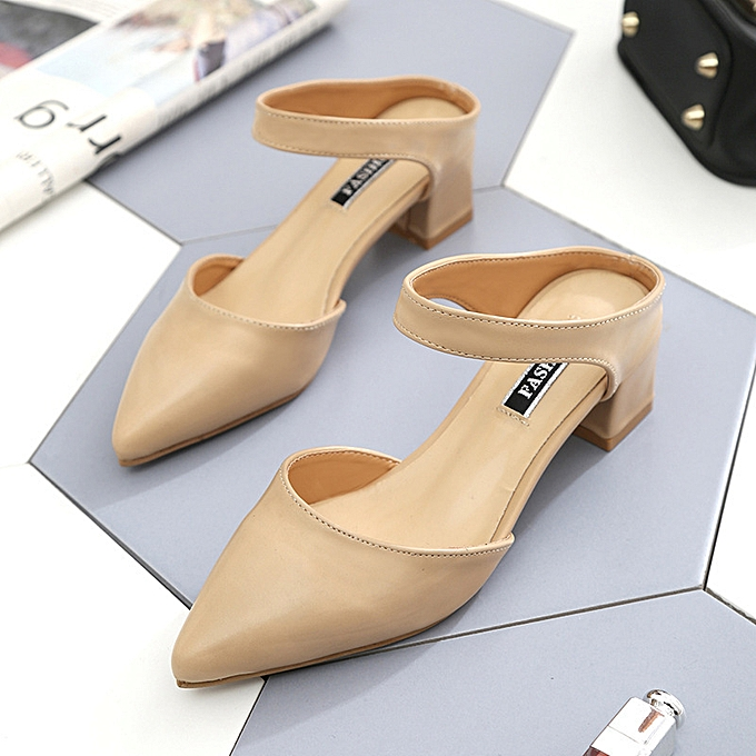 mode Female slippers in the head with a cool pointed head with a thick and half slippers tide à prix pas cher