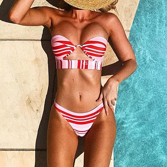 Autre 2019 maillot de bain femmes Brazilian Bikini  Push Up noir Vintage wire padded  Bikinis y Female maillot de bain femme(stripe rouge) à prix pas cher
