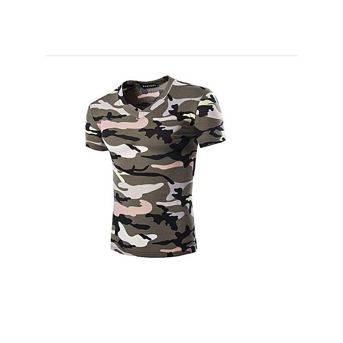 Generic Refined Hommes& 039;s Leisure T-shirt  manche courted T-shirts V-neck Camouflage MultiCouleur T-shirt à prix pas cher