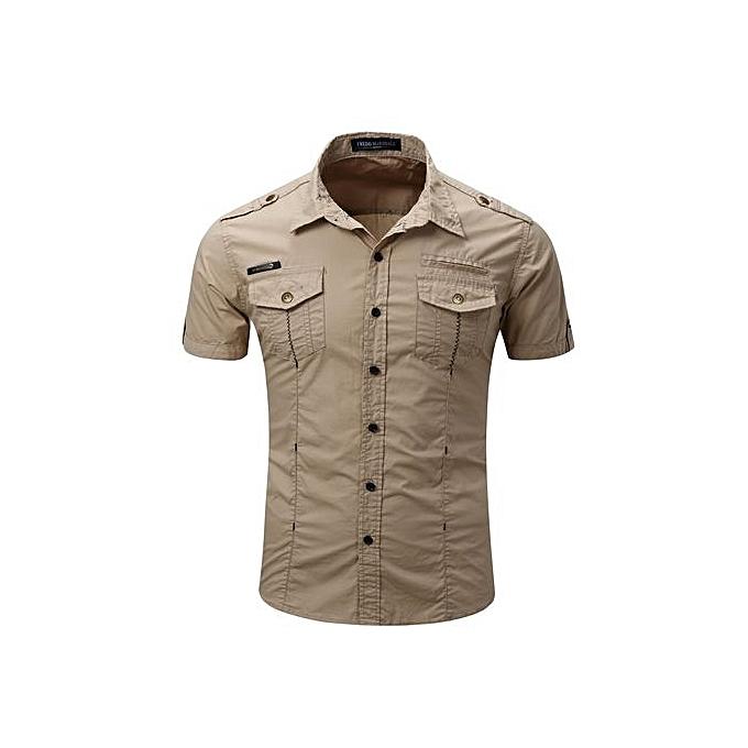 Fashion 2017 New Arrive Mens Cargo Shirt Men Casual Shirt Solid Short Sleeve Shirts Work Shirt With Wash Standard-KHAKI à prix pas cher