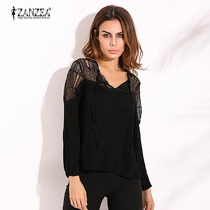 Fashion ZANZEA Autumn Shirts  femmes Casual Loose Patchwork Lace Crochet Blouses V Neck Long Sleeve Tee Tops S-5XL (noir) à prix pas cher