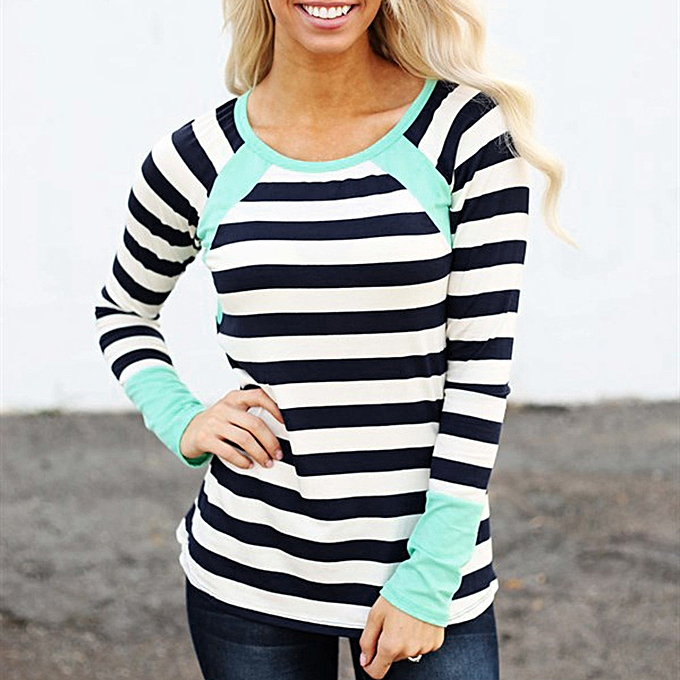 Fashion Fashion Autumn femmes Stripe Tops Long Sleeve O-Neck Casual T-Shirt Blouse à prix pas cher