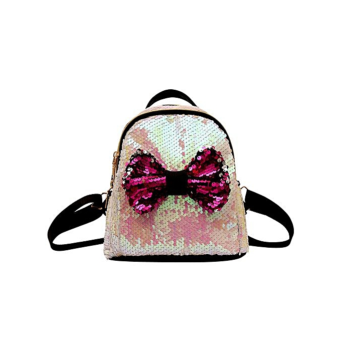 Fashion Xiuxingzi Fashion  Sequins Bow Tie School Bag Backpack Satchel femmes Travel Shoulder Bag à prix pas cher