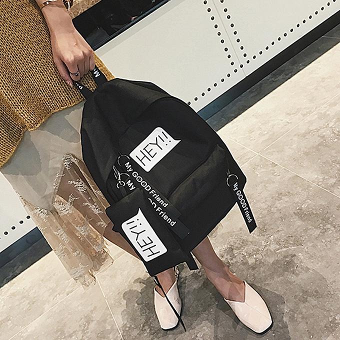 mode Tcetoctre Unisex toile Print Two Set Double Shoulder sac Handsac sac à dos Zipper sac-noir à prix pas cher