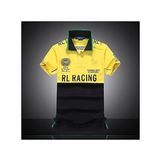 Fashion Casual Brand Mens Summer Cotton Short Sleeve Diagonal Stripes Patchwork Polo Shirt-jaune à prix pas cher
