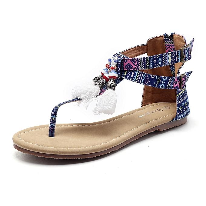 Fashion Bohemian Comfortable femmes Sandals Fringe Clip Toe Flat Sandals à prix pas cher