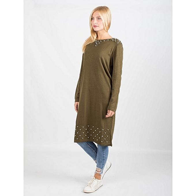 d6a748160c8 Tunkçi Pull Tunique Fashion femme Nouvelle collection V - Vert à ...