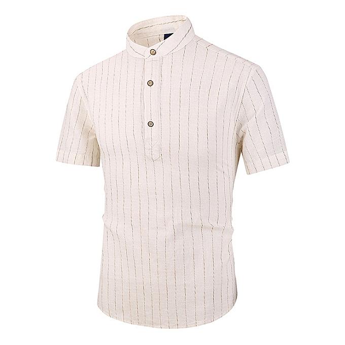 mode Hommes& 039;s linen courte-sleeved Slim rayé petit collar shirt cotton linen Hommes& 039;s Décontracté shirt-blanc à prix pas cher
