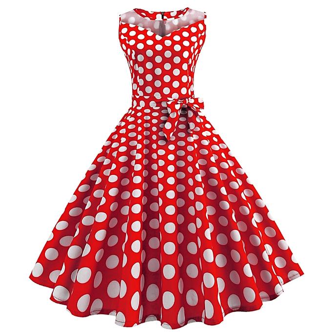 mode Sedectres Shop femmes Vintage Dot impression Sleeveless engrener Patchwork Evening Party Swing Robe à prix pas cher
