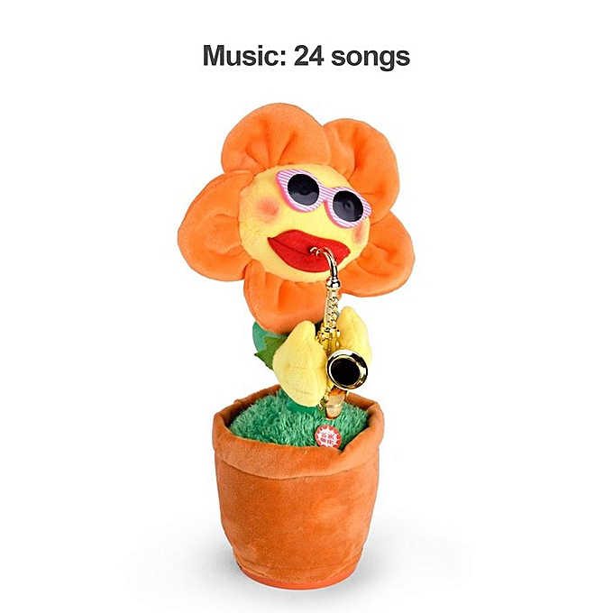Generic Singing Dancing Flower Doll Sunflower Plush Toys With Saxophone For Kids Gift à prix pas cher