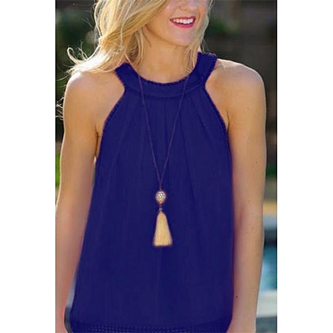 Fashion YOINS femmes New High Fashion Clothing Casual Sleeveless Lace Details Hollow Out Back bleu Cami Top à prix pas cher