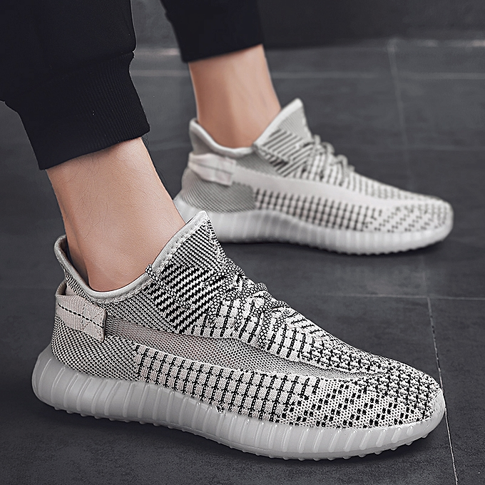 Tauntte Men baskets Flyknit Sports Running chaussures Breathable Casual chaussures (Beige) à prix pas cher