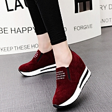 69906d8f6 Womens Casual Platform Hidden Wedge Shoes Creepers Nubuck Leather Sneakers  Sport