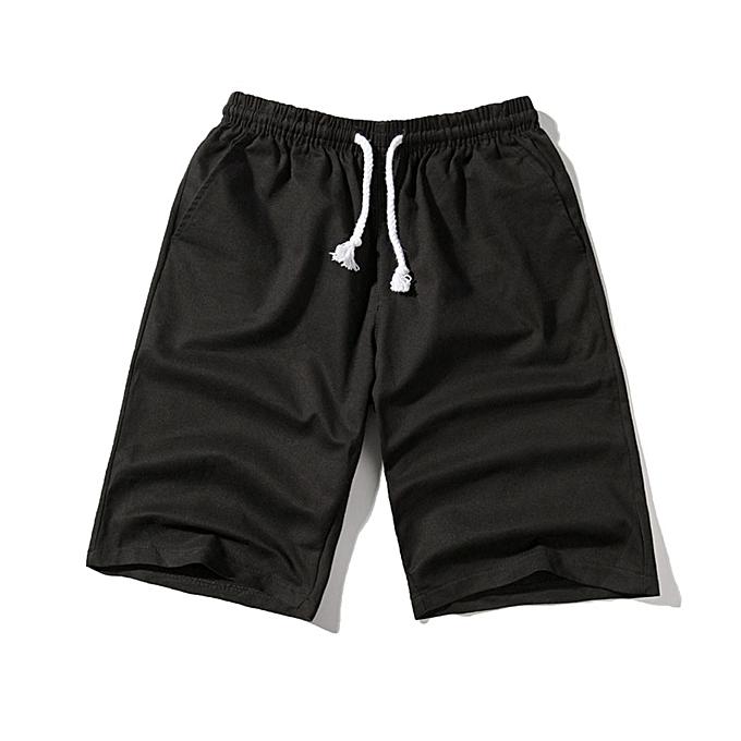 mode Hommes& 039;s mode été Décontracté Solid Pocket Drawstbague Cotton courte Pants à prix pas cher