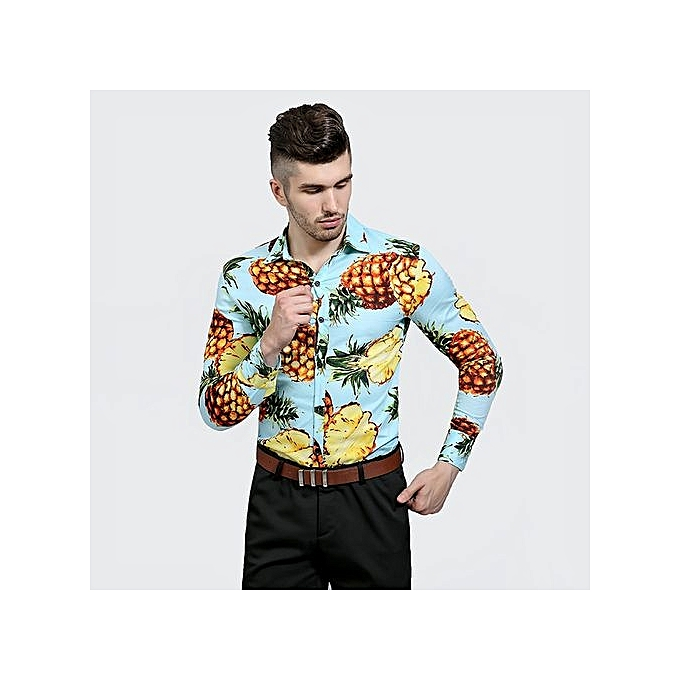 Eissely Mens Casual Long Sleeve Shirt Business Slim Fit Shirt Print Pineapple Blouse Top- bleu à prix pas cher