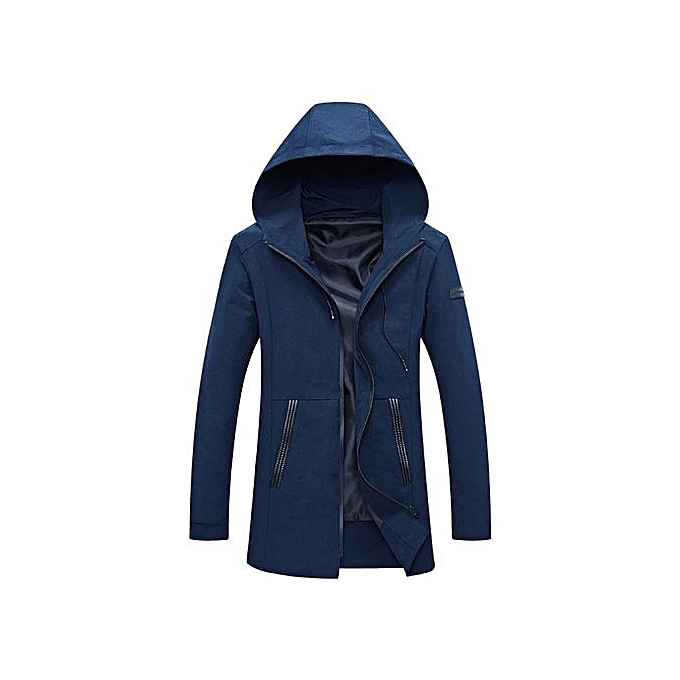 Fashion Casual Hooded Long Sleeve Zipper Men Jacket_DEEP bleu à prix pas cher