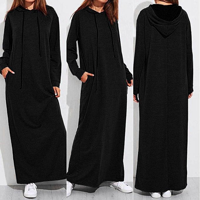 Fashion femmes Maxi Dress Long Sleeve Hooded Ladies Casual Hoodies Long Dresses noir à prix pas cher