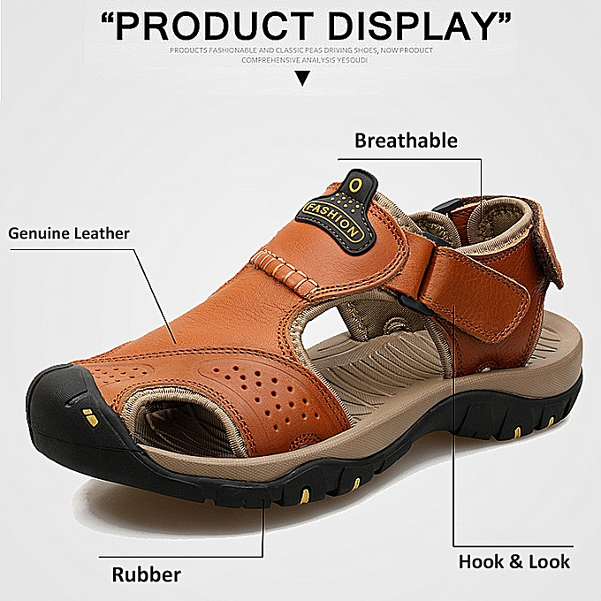 Fashion Mens Big Taille Hiking Genuine Leather Sandals Closed Toe Fisherhomme Beach chaussures à prix pas cher
