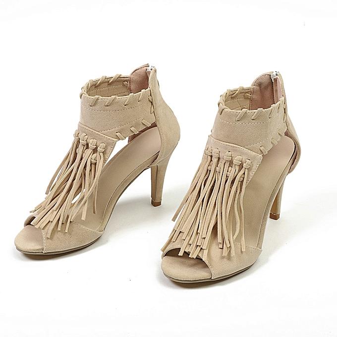 Fashion WoHommes WoHommes WoHommes 's Shoes Platform   Sandals Ankle Tassel Zip Peep Toe High Heel Shoes - à prix pas cher    Jumia Maroc b10664