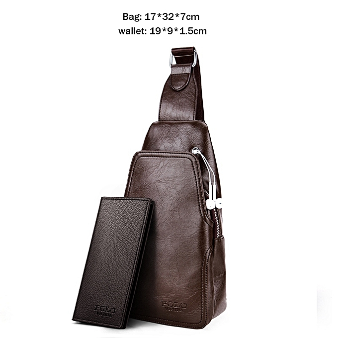 Other VICUNA POLO Fashion High Quality PU Leather Men Messenger Bag Practical Crossbody Shoulder Bag For Male Casual Chest Sling Bags(Set bleu) à prix pas cher