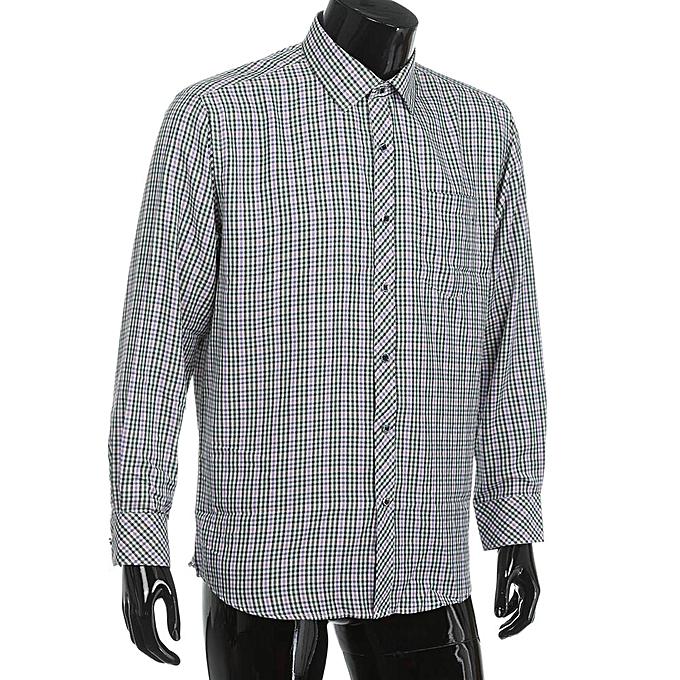 mode jiahsyc store Hommes& 039;s Classic Plaid manche longue Affaires Formal Shirts Clothing chemisier GN 38 à prix pas cher