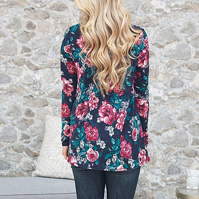 Fashion Meibaol store femmes Casual Printed V-Neck Loose Long Sleeve Top Blouse S à prix pas cher