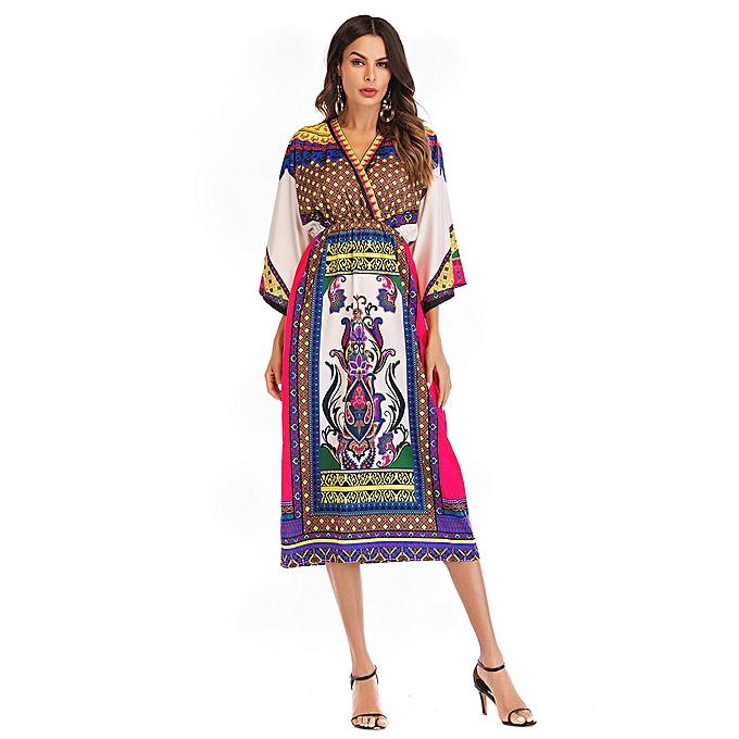 Fashion femmes Boho Vintage Printed Long Sleeve Slim Beach Dress HT L à prix pas cher