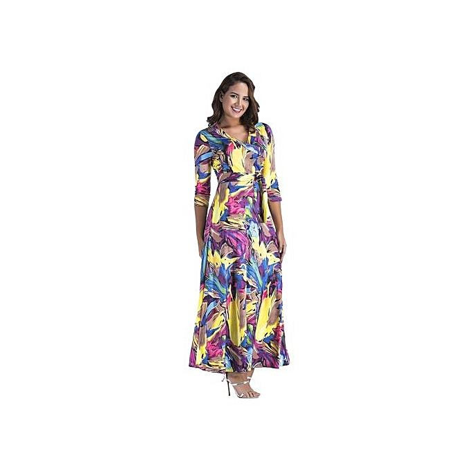 mode femmes Elegant Midi-Sleeve V-neck Slim Print Floral Autumn Robees Party Odycon Floot longueur Maxi Robees-print violet à prix pas cher