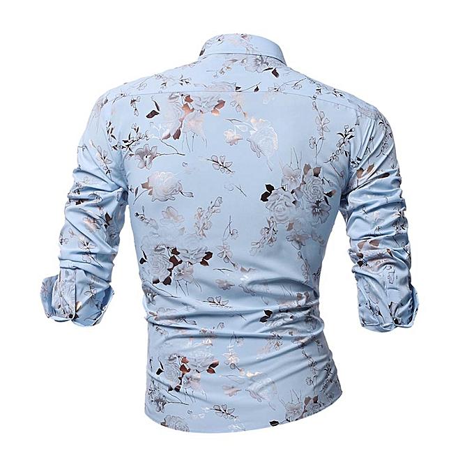 mode Personality Hommes& 039;s Printed Décontracté Slim manche longue Printed Shirt Top chemisier à prix pas cher