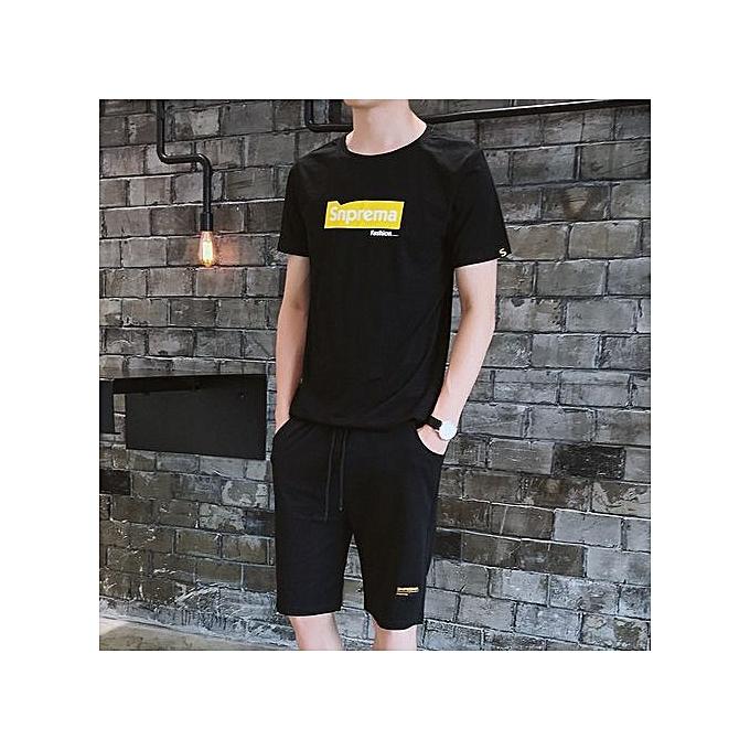 Other T Shirt Shorts  Sports Suit -noir à prix pas cher