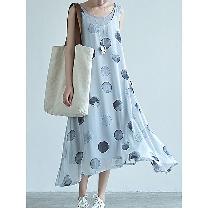 Fashion Sleeveless Polka Dot Two-pieces Maxi Dress à prix pas cher
