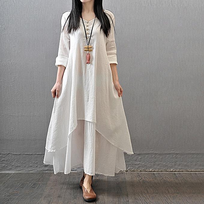 mode schoolcool femmes Décontracté Loose manche longue Cotton Linen Boho Long Robe Party Maxi Robe à prix pas cher
