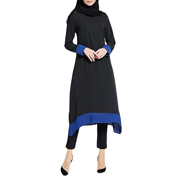 Fashion Hiamok Muslim femmes Islamic Splice Pure Couleur  Plus Taille Middle East Long Dress à prix pas cher