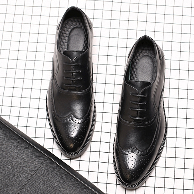 Fashion Men's Leather Wing Tip Leather Dress Formal Casual Lace Up Walking Oxfords chaussures à prix pas cher