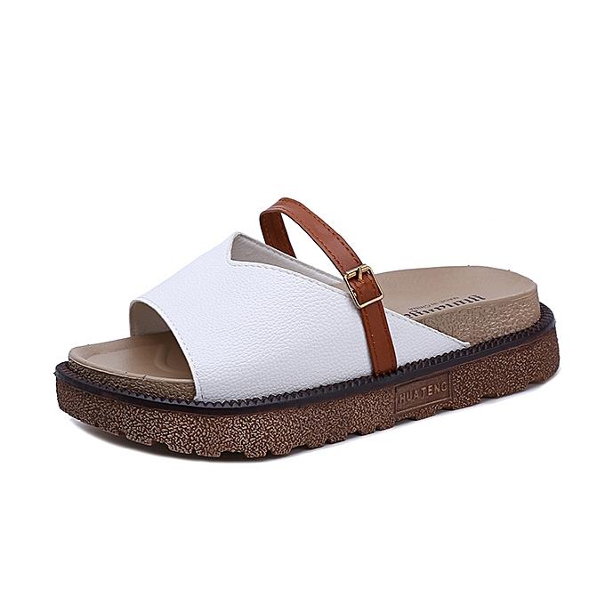 Fashion Middle toe sponge cake Roman chaussures thick sandals and slippers blanc à prix pas cher    Jumia Maroc