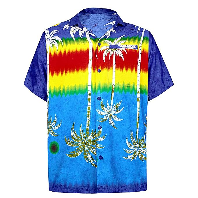 Fashion jiuhap store Men's Summer New Style Fashion Coconut Tree Hawaiian Style Short-sleeved Shirts à prix pas cher