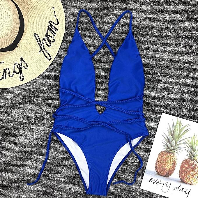 Other Bikini Swimming Suit For femmes  Bathing Suit One-piece Swimsuit Pure Deep V Backless Swimwear Maillot De Bain Femme(9133bleu) à prix pas cher