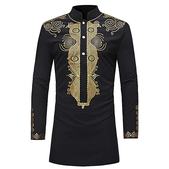 Fashion Men's Autumn Winter Luxury African Print Long Sleeve Dashiki Shirt Top Blouse- noir à prix pas cher