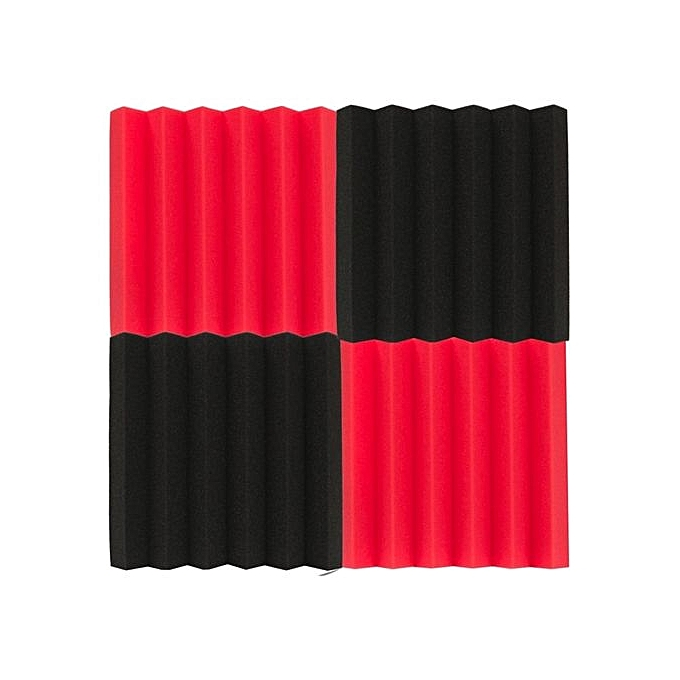 UNIVERSAL 4 Pcs rouge & noir 12x12x2inch Soundproofing Sound-Absorbing Studio Foam Files à prix pas cher