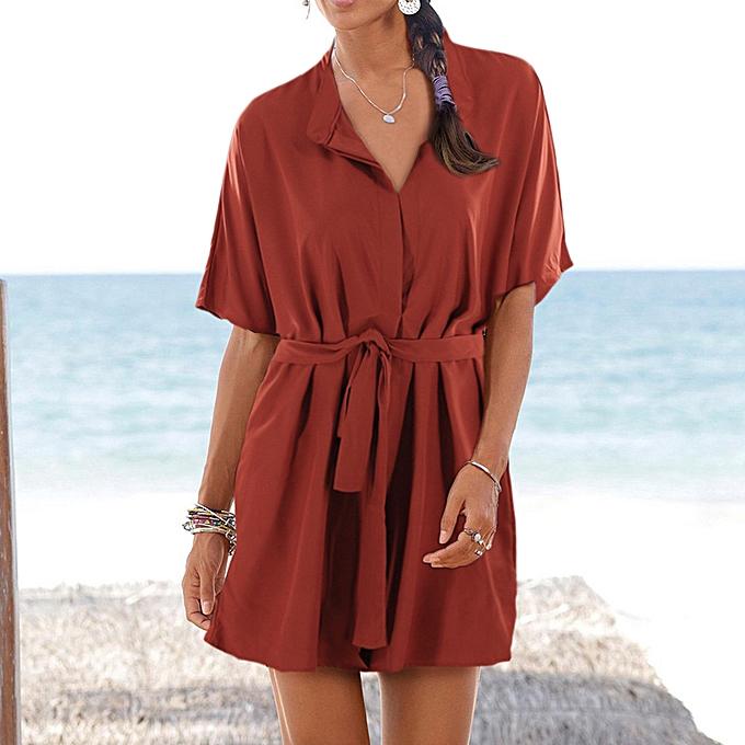mode femmes Boho Solid V-Neck manche courte Long Ruffled Party Robe With Belt Robe à prix pas cher