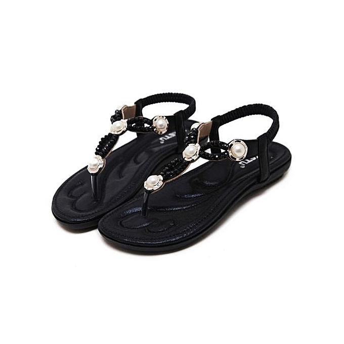 mode grand Taille femmes sandals  mode beaded slippers comfortable plage sandals femmes flip flops-noir à prix pas cher