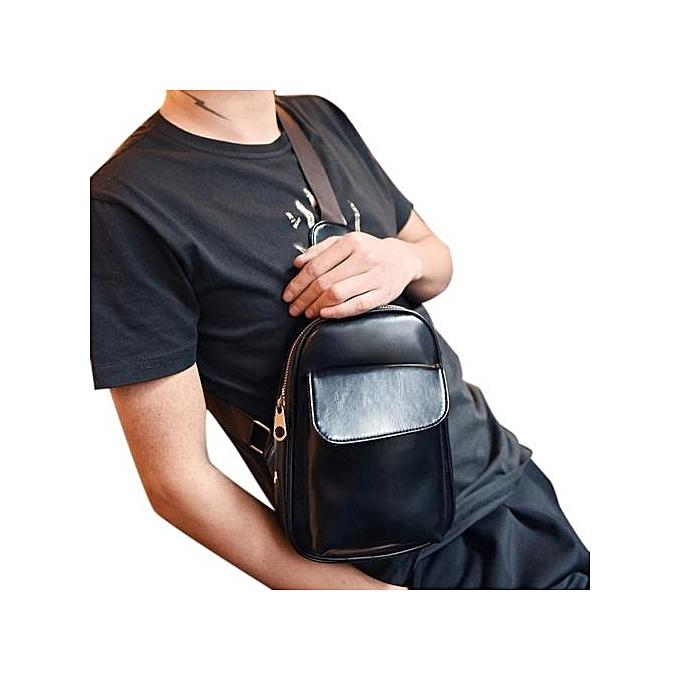 Generic Zipper Pockets Fanny Pack Chest Waist Bag with Cell Phone Pouch Bag BK à prix pas cher