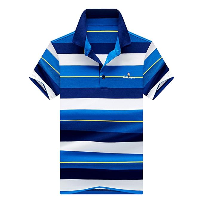 Fashion Men's Lapel Striped Short Sleeve Polo Shirt-bleu à prix pas cher