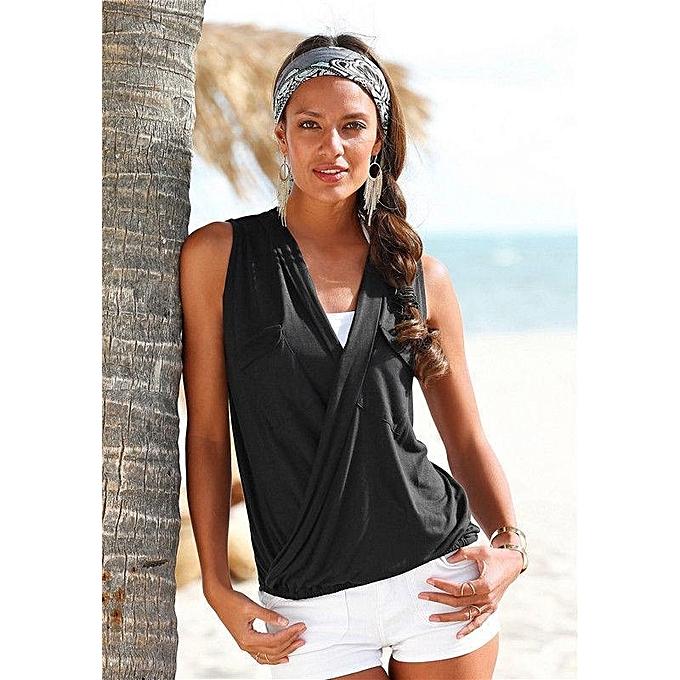 mode YOINS femmes nouveau High mode Clothing Décontracté Sleeveless V-neck noir T-Shirt Top à prix pas cher