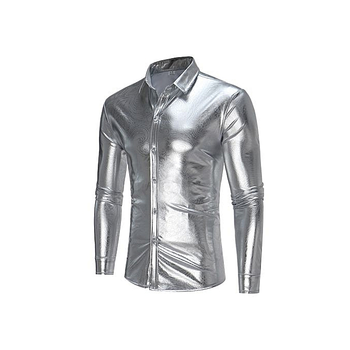 AFankara Nightclub Style Men Shirt Social Camisa Masculina - argent à prix pas cher