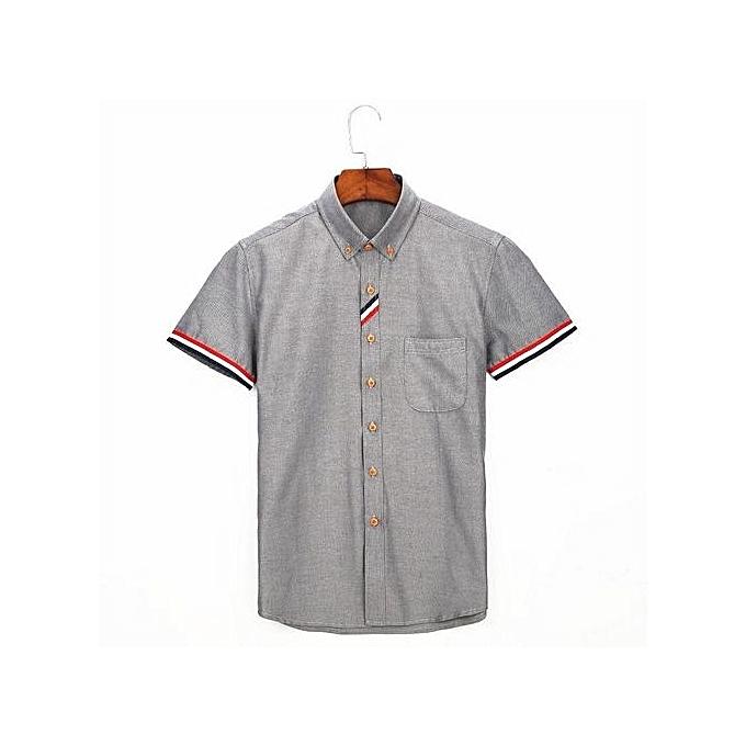 Generic Men's Oxford Striped Decoration Short Sleeve Dress Shirt (gris) à prix pas cher