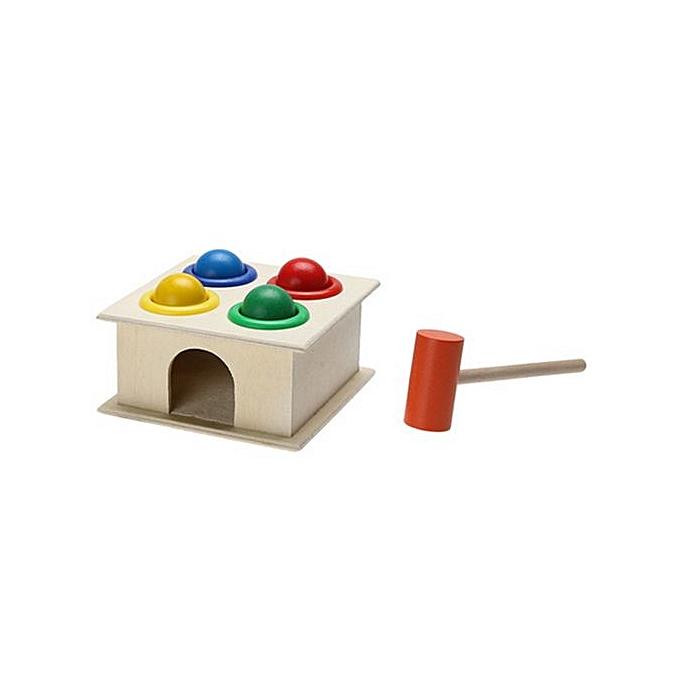 Generic Educational Toys boisen Hammebague Ball With Hammer Box Couleur Cognitive Toy à prix pas cher