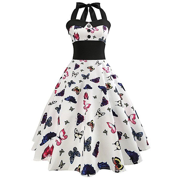 Fashion schoolcool femmes Vintage Butterfly Printed Bodycon Sleeveless Casual  Cocktail Prom Dress à prix pas cher