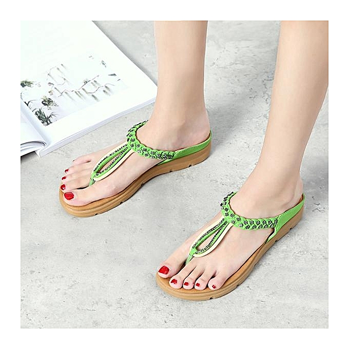 Fashion SOCOFY Fashion femmes Rhinestone Flip Flops Soft Flat Clip Toe Beach Slippers Flat Sandals-EU à prix pas cher